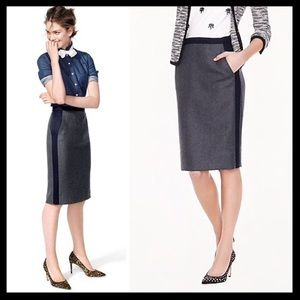 j. crew // colorblock wool tipped pencil skirt